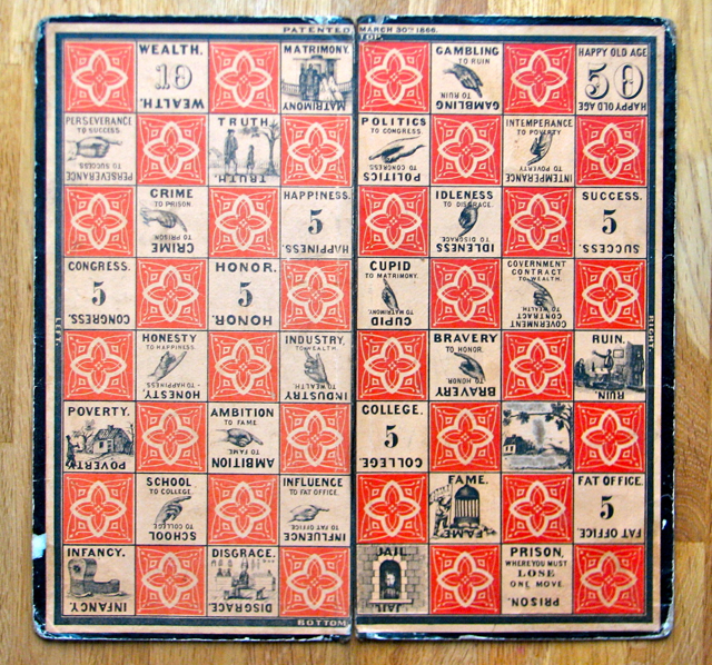Checkered Game of Life board; 1860, Milton Bradley