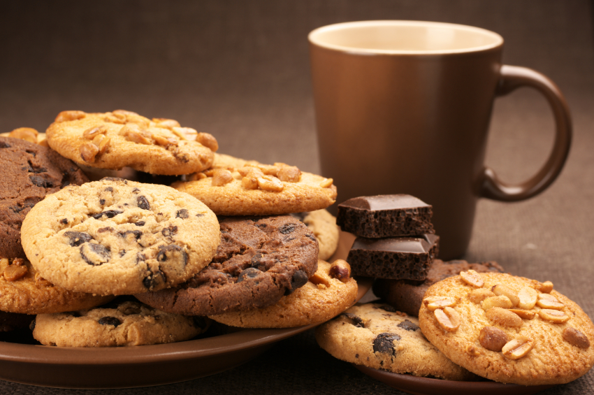 Various cookies and coffee