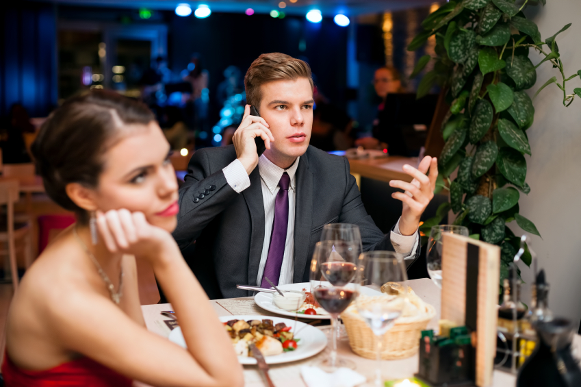 Young woman on boring dating
