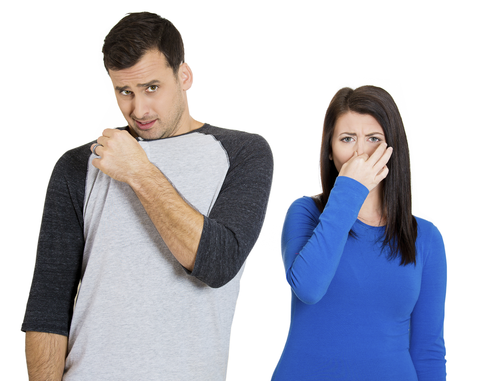 woman covers nose man stinks