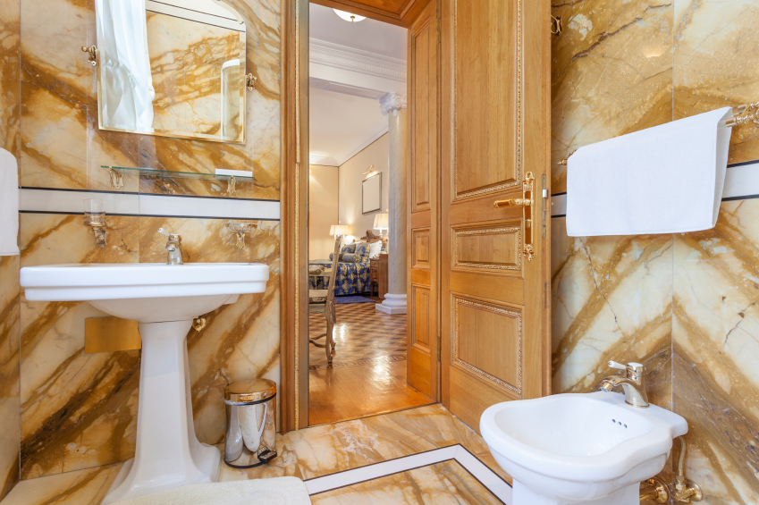 Interior of a luxury bathroom with marble walls
